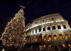 Rome and Colosseum, during the Italian Christmas